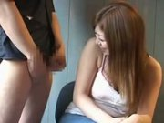 Japanese handjob and cumshoot to clingfilm