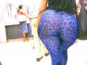 Mega Butt in Blue Spandex