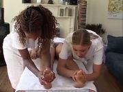 British Georgina Smith gets massaged by lesbians