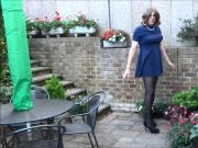 Alison can't stop wanking in the garden - Sexy Crossdresser