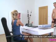 FemaleAgent Blonde horny agent sucks and fucks studs cock