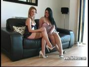 Sexy slender high heel babes talk dirty for shoe fetish cum
