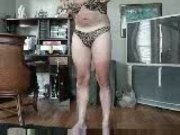 Jerkin Off - Matching Leopard Panties and Bra