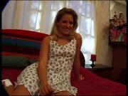 Sexy blonde strips summer dress and masturbates
