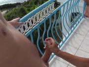 Amateur outdoor public handjob blowjob on balcony