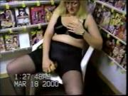 Milf Pumps Herself in a Video Store in Her sixth Video.