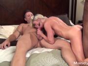 Petite Blonde Mandy Has A Threesome