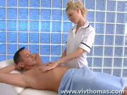 Young masseuse cares for big cock