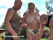 Mature Alisha Ryder with her gardeners