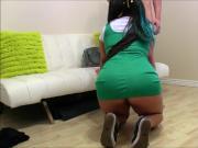 Brunette in green dress tight fetish fuck