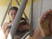 cute teen exposed her pretty dirty feet
