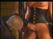Horny old master enjoying his big tits blonde slave