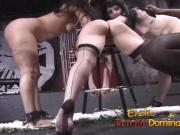 Black mistress enjoys dominating three helpless white girls