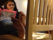 Candid Feet and Soles of Indian Teen at Library