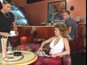 CONSTANCE DEVILLE, LUCAS AND FRIEND IN BAR