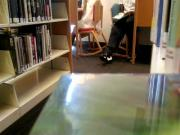 cum on asian girl in library