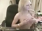 Stunningly hot blonde stripping