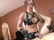 Strapon fucked by sexy blonde mistress