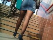 Denim skirt and black pantyhose