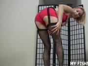 Let me put on my fishnets while you take out your cock JOI