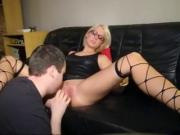 blond girl like latex and fucking