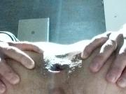 MILF feeds her hungry ass in the office toilet