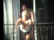 sex and balcony Voyeur get caught