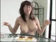 Japanese idol shakes her tits at breakfast