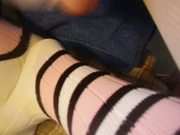 Cum on friends striped long socks