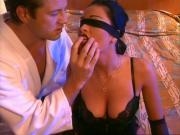 Milf with natural tits fucking blindfolded