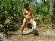 Mature outdoor undressing and masturbating