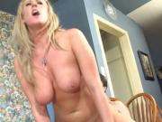 Sexy blonde with pink bikini gets pounded