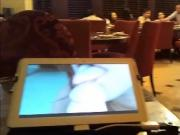 Watching a porn at restaurant