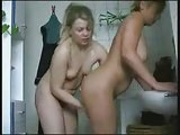 Mature lesbians playing in bathroom
