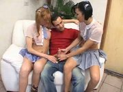schoolgirl bianca freire and her mate have fun with a guy
