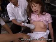 Asian cuttie suddenly getting stimulated by two dudes