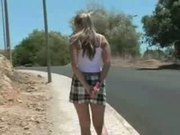 European Girl masturbate near to the road