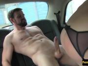 Cocksucking female cabbie covered in spunk