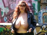 Fantastic big floppy tits outdoors