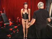 A hot chick with kinky braids and a partially shaved head gets worked over