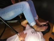 Grace foot slave under table