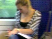 Busty in train