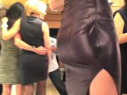 Candid perfect ass is tight wetlook dress raw footage