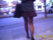 Sheer black pantyhose upskirt in Munich