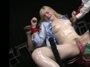 Blondes teen get Fucking Machines by Asian men
