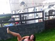 fat chav slag topless in garden