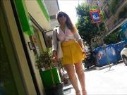 Candid: Young girl with short skirt