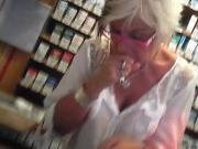 Blonde granny seethrough shirt soft