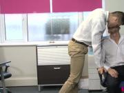 UK office hunk assfucking while bottom tugs