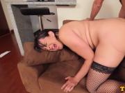 TS maid jizzed in mouth after anal and bj